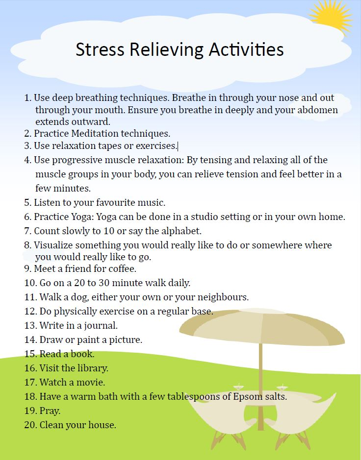 activities relieve stress essay Discover the connection between exercise and stress relief — and why exercise   physical activity helps bump up the production of your brain's feel-good.