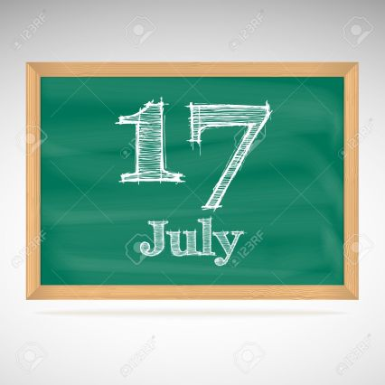 July 17, inscription in chalk on a blackboard, day calendar, school board, date