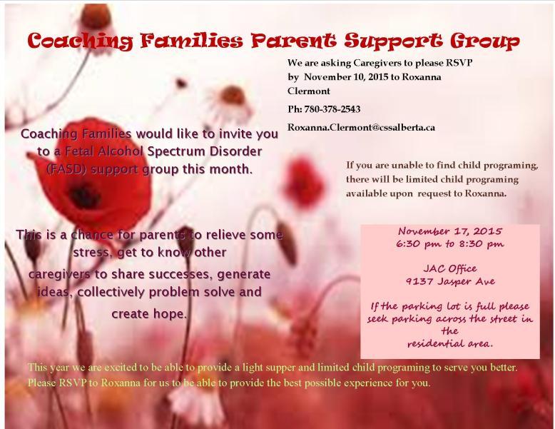 Coaching Families - November 2015 Flyer
