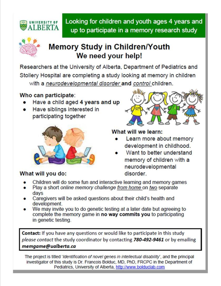 Memory Study in Children and youth